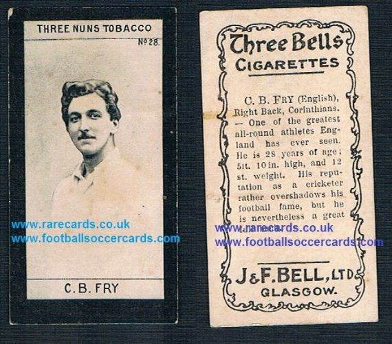 1901 J&F Bell Three Bells Tobacco Three Nuns Charles Burgess Fry card.